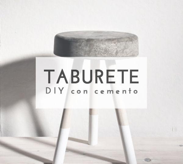Crea un original taburete #diy con cemento y 3 patas de madera
