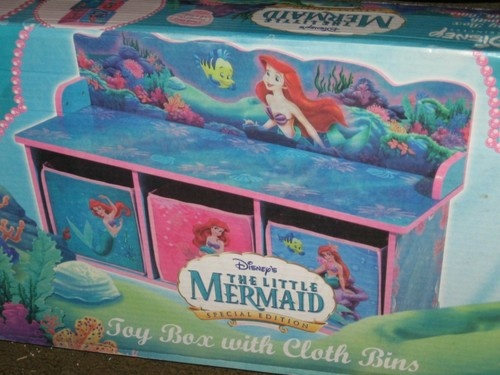 Disney Little Mermaid Toy Box with Cloth Bins