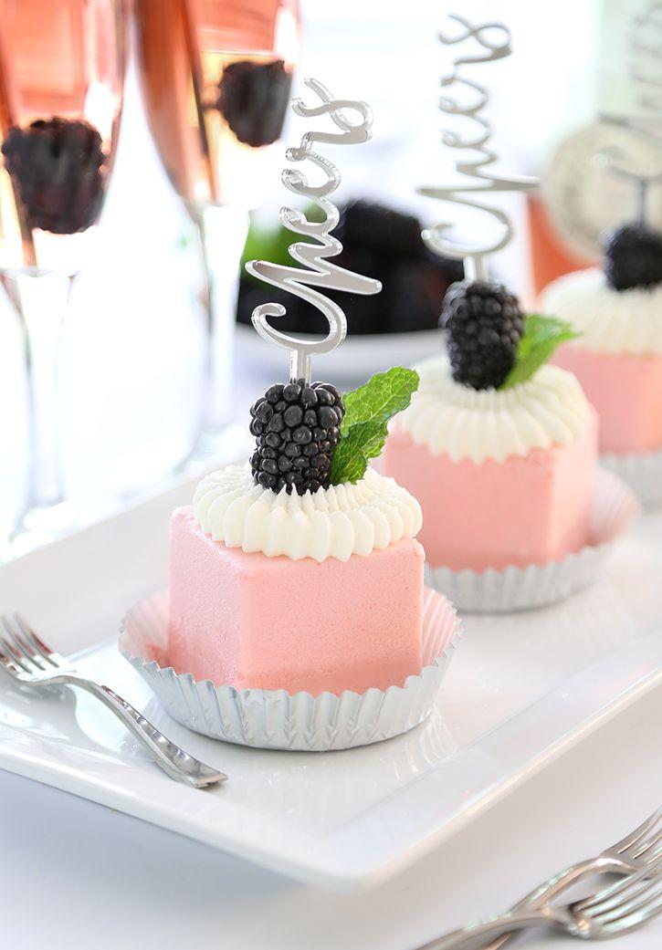 Mini Rosé Wine Toasting Cakes | Sprinkle Bakes