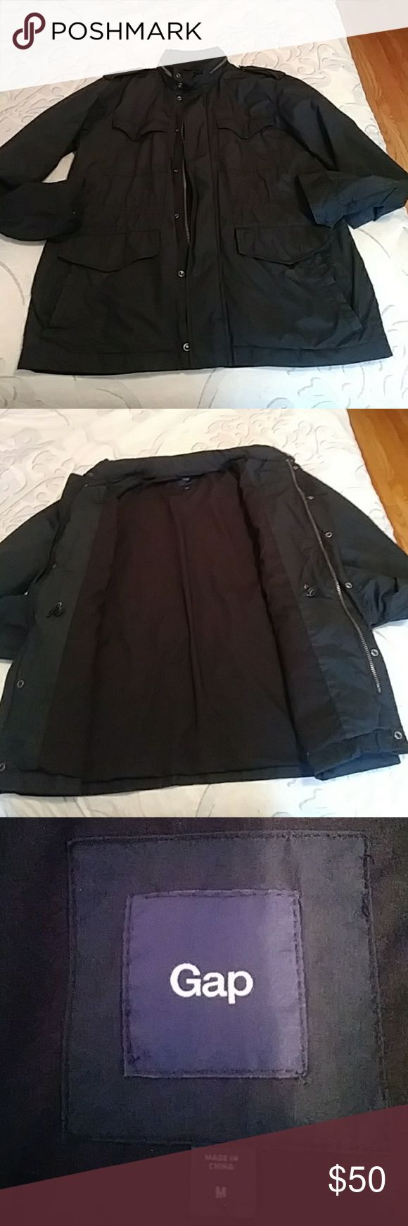 Gap men's jacket Men's navy Gap jacket perfect for fall spring or if you wearing the sweater be great to pull over in great condition worn only maybe 5 times buttons and zipper works also comes with hood is good for the rain GAP Jackets & Coats Lightweight & Shirt Jackets