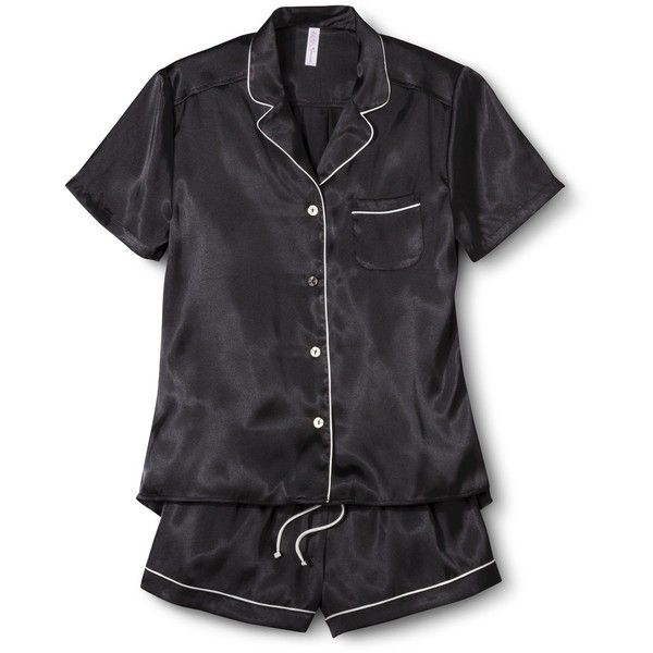 Women's Satin Short Pajama Set ($25) ❤ liked on Polyvore featuring intimates, sleepwear, pajamas, black, pajamas & robes, sets, satin pyjamas, satin pajama sets, button down pajamas and satin short pajamas