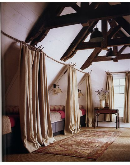 I like the curtain separation - this could be done in a bedroom with a long wall.