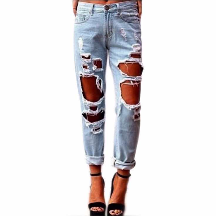 11.02$  Buy now - http://alimkw.shopchina.info/1/go.php?t=32817086723 - Women Cool Denim Cotton Jeans Destroyed Hole Ripped Distressed Faded Pants Casual Slim Denim Trousers Pantalones Vaqueros Mujer 11.02$ #aliexpressideas