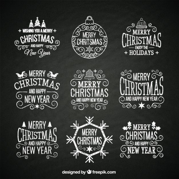 hand drawn retro christmas badges I Free Vector