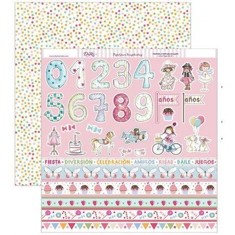 Papel scrap con cenefas y números en tonos rosas y un fondo con topos de colores por detrás #scrap #conideade #manualidades