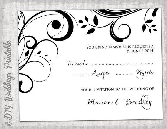 Rsvp Card Template Word New Rsvp Template Diy Black And White Scroll Rsvp Wedding Cards Wedding Rsvp Postcard Wedding Response Cards