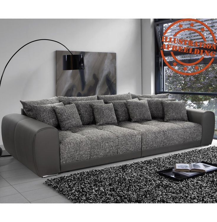 Grand Canape Droit Byouty Taupe Taupe 4 Places En Similicuir Et Tissu In 2020 Sofa Set Living Room Remodel Sofa