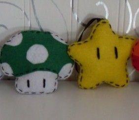 Mushroom and Star Mario Brothers Nintendo Ornaments