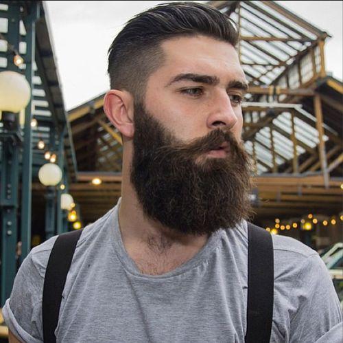 Full Dark Thick Beard Bearded Man Men Mustache Underccut