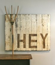 Fun - Reclaimed Pacific Railway Cattle Barn Door & Antique Wooden Pitch Fork