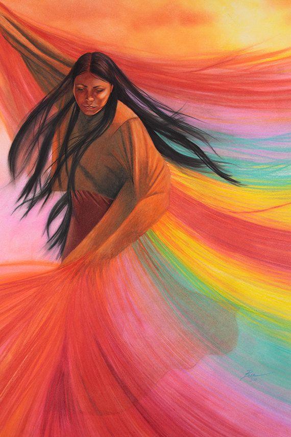 Impresión del arte de un lápiz de color dibujo de una bailarina nativa americana por Ria Spencer.