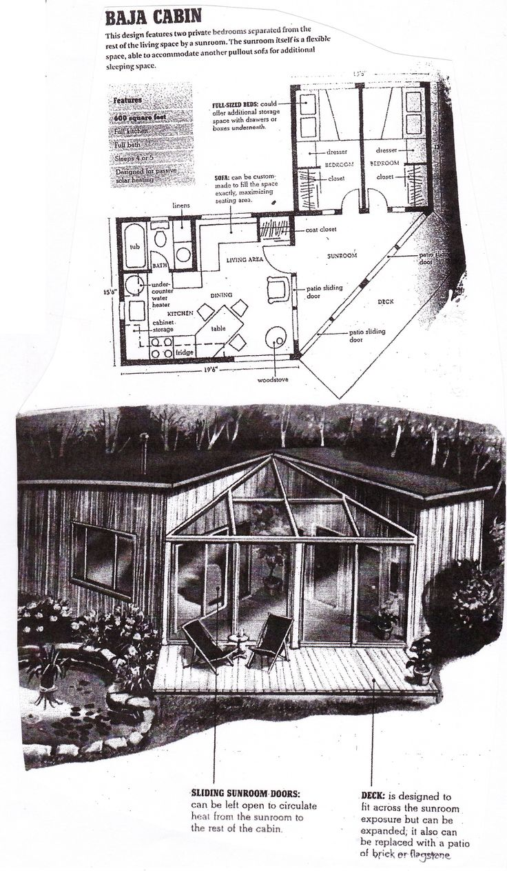 Baja Cabin Floorplan From Compact Cabins Simple Living In 1000 Square Feet Or Less By Gerald Rowan Floor Plans Small House Floor Plans Tree House