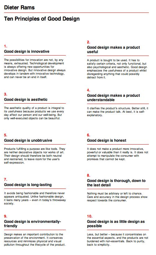 Dieter Rams, 10 principles of good design, something that every designer shoud know, learn and apply.