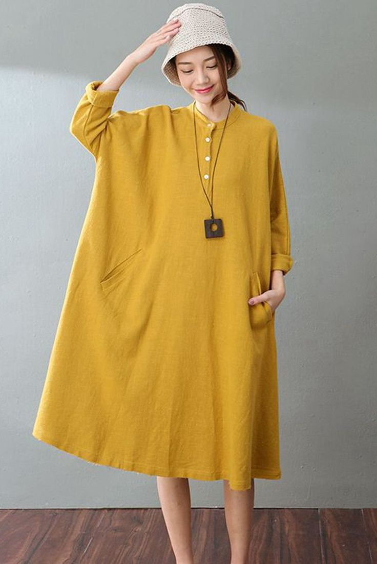 Fabric:         Fabric has some stretchSeason:        Autumn, Spring, WinterType:           ShirtDressPattern Type:    PlainSleeve Length:  Long SleeveColor:          Yellow and WhiteDresses Length: MaxiStyle:          CasualMaterial:        Cotton & LinenNeckline:       One ShoulderSilhouette:      DressFree Size(Cm):  Shoulder width:40 cm, Bust:148 cm,Sleeve Length:62 cm,Length:104