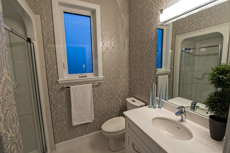 En suite bathroom #chic #classy #wallpaper #damask #custom #makeityourown #buildwithharmony #liveinharmony #harmonybuilders