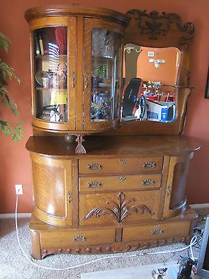 Antique Tiger Oak China Cabinet Ebay Beautiful