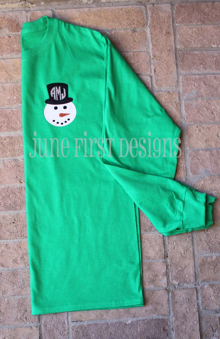 Monogram Snowman Christmas Glitter Tee T-Shirt by JuneFirstDesigns on Etsy