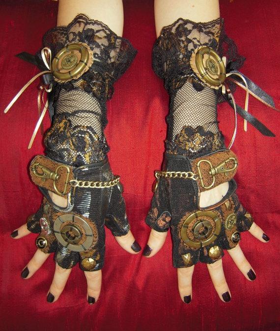 Steampunk Gloves Belle Starr Western Prairie Gutter by Moonhoar, $85.00