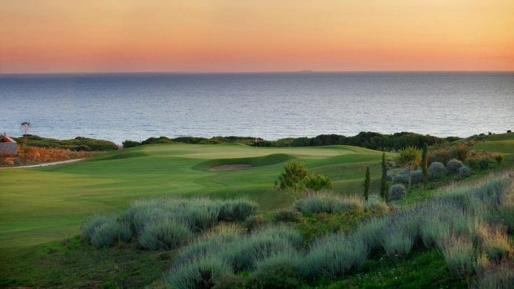 Enjoy a wonderful sunset while playing golf in front of the Ionian Sea