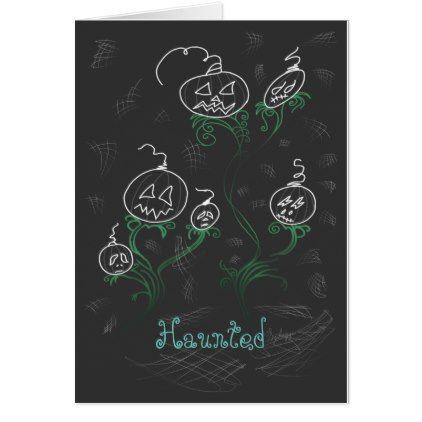 #Haunted Pumpkin Vines Card - #Halloween #happyhalloween #festival #party #holiday