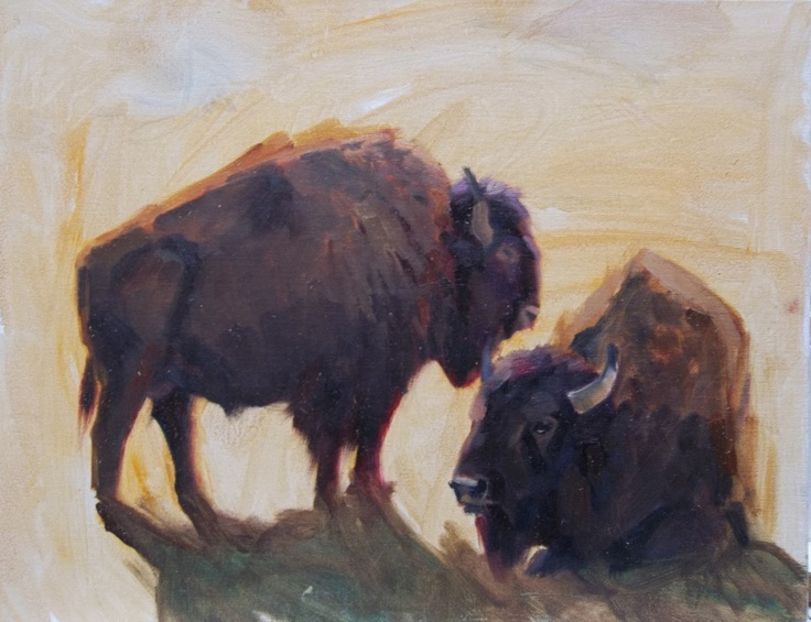 """Wildlife Artists of Colorado: """"King of The Plains"""" Original Bison Oil Painting by Colorado Artist Susan Bell"""