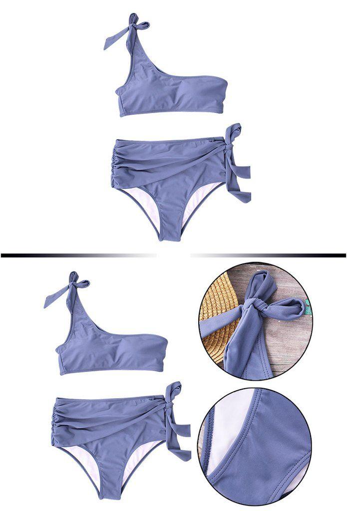 fee47dc3840f2 Blue One Shoulder Bowtie Bikini Set in 2019 | Fashion Swimwear ...