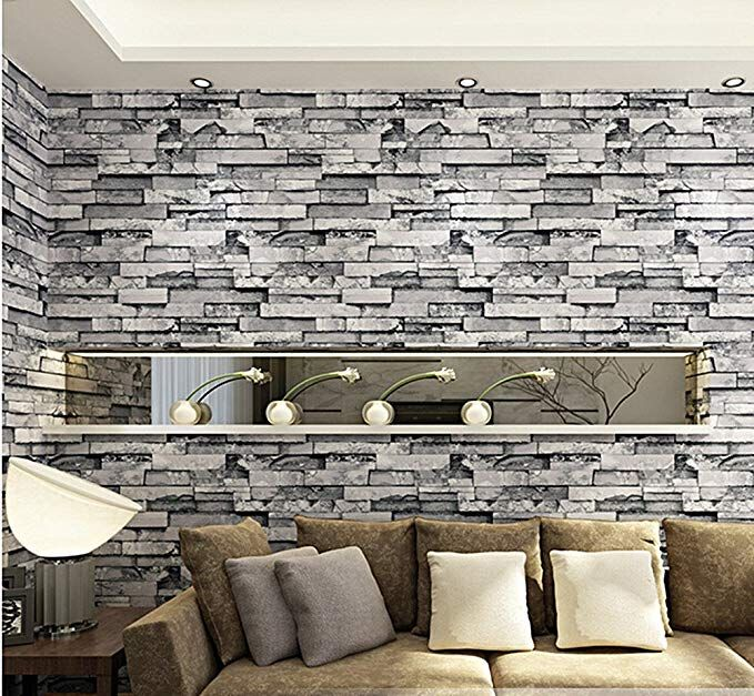 Blooming Wall 3d Faux Cultural Brick Stone Wallpaper Roll For Livingroom Bedroom 20 8 In32 8 Ft 57 Sq Ft Gra Stone Wallpaper Brick And Stone Brick Wallpaper