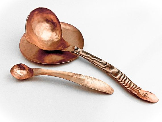 Hammered Copper Spoon Rest Saucer - Handmade to Order - Kitchen Accessory Kitchenware Cooking Utensil Chef Tool Stove - Handmade Forged