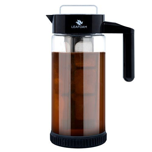 Cold Brew coffee maker&Tea Infuser 1.3L(44oz) Glass Pitcher- BPA Free. Leafoam Iced coffee maker with Removal Mesh Filter and No-Slip Base. Using by Professional Barista!