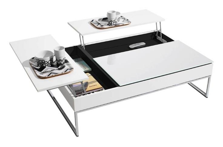 BoConcept Funktionellt soffbord med förvaring, vitlack vitt glas krom 6 390 SEK My New