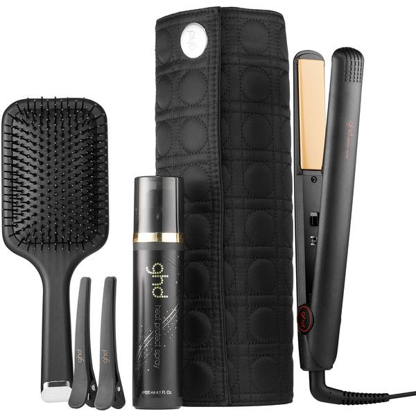 ghd Classic Good Hair Day Kit (€175) ❤ liked on Polyvore featuring beauty products, haircare, hair styling tools, ghd, hair styling products, styling products, styling iron and flat iron