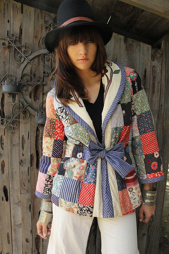 Vintage Quilted Floral Patchwork Jacket Multicolored Coat