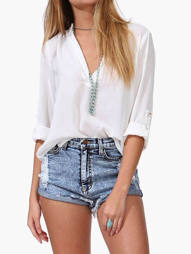 White V Neck Chiffon Blouse With Rolled Half Sleeve | Choies