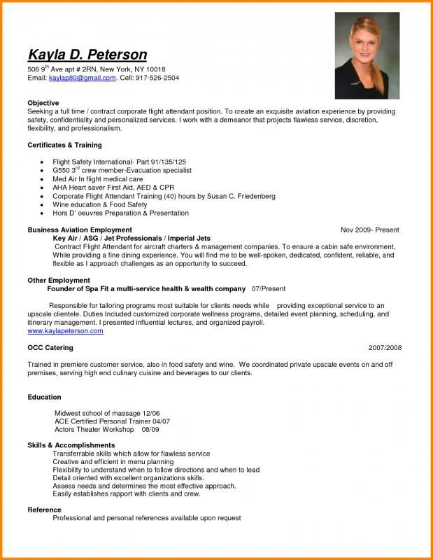 Resume For Flight Attendant Template Pinterest Sample Resume