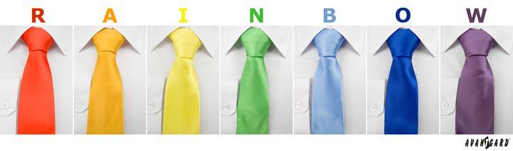 Duhové kravaty značky Avantgard / Rainbow inspiration, bowtie colours, Avantgard, ties, mens accessories, mens fashion