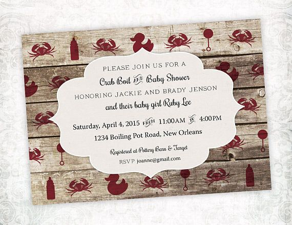 Crab Boil Baby Shower Invitation (Low Country Boil) - Printable digital file #crabboil #lowcountryboil #seafood #babyshower #invite