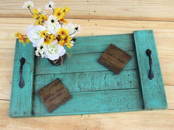 Plateau de service pour le plateau rustique Photo Prop mariage cadeau Upcycled palette