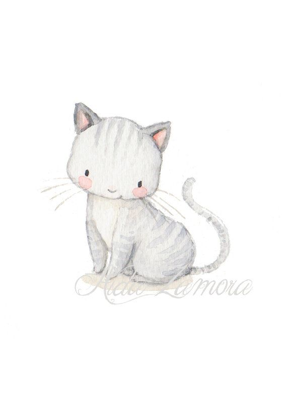Nursery Art KITTY Art Print Chidren's art. Cat por AidaZamora