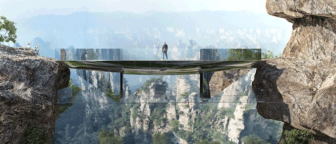 A bridge that will create an experience like no other in Zhangjiajie, China #pedestrian #bridge #china #landscape