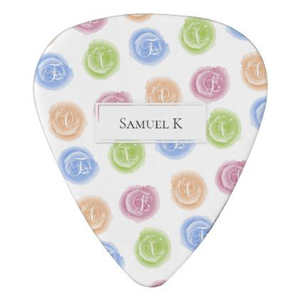 round watercolor stains love calligraphy guitar pick script gifts
