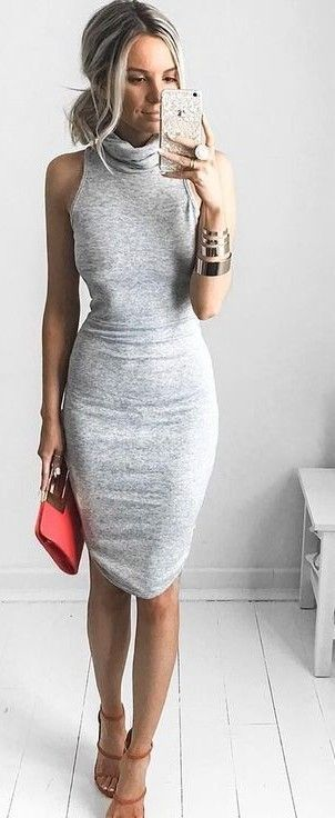 grey + tan. fitted midi dress. strappy sandals.