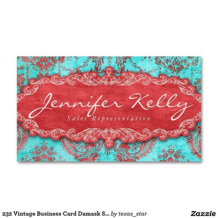 232 Vintage Business Card Damask Suede Blue Red