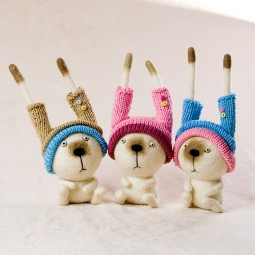 Bunny in hats - and many other adorable Felted Toys!: