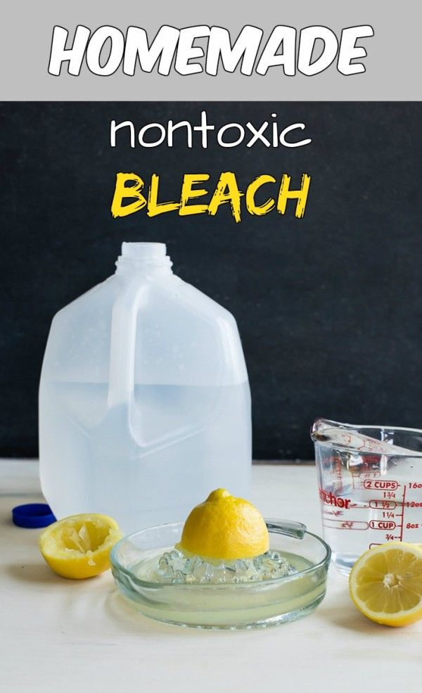 Read directions about how to make a homemade nontoxic bleach.