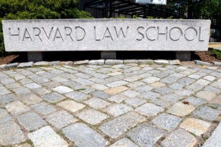 CAMBRIDGE, MA - MAY 10:  The entrance to Harvard Law School campus is seen May 10, 2010 on the Harvard University Law School Campus in Cambridge, Massachusetts. U.S. President Barack Obama announced today the nomination of Solicitor General Elena Kagan, former Harvard Law School Dean from 2003-2009, to the Supreme Court succeeding retiring Justice John Paul Stevens. (Photo by Darren McCollester/Getty Images)