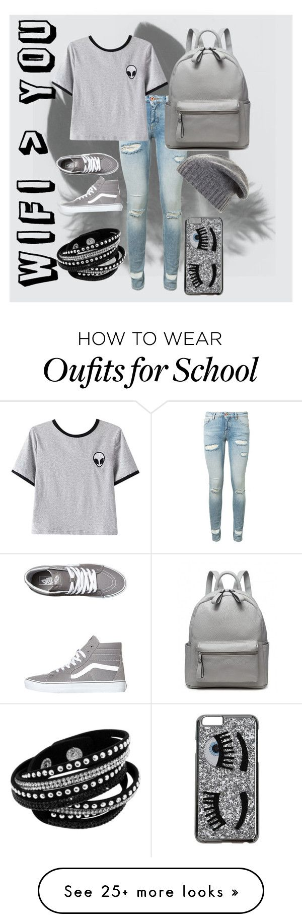 """Tumblr, Casual School Outfit"" by mackmurph on Polyvore featuring Off-White, Chicnova Fashion, Vans, BCBGMAXAZRIA and Chiara Ferragni"