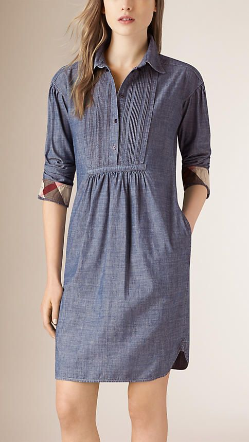 Light indigo Pintuck Detail Denim Tunic Dress - Image 1