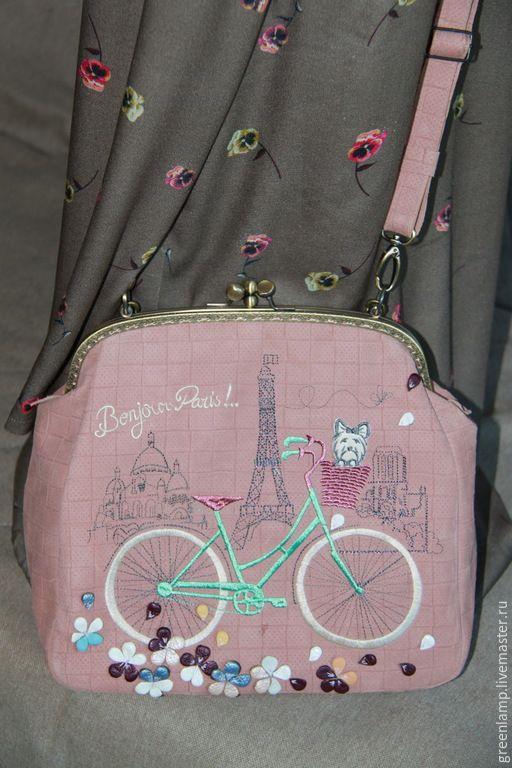 """Купить Сумка из кожи """"Париж"""" - разноцветный, рисунок, сумка из натуральной кожи, парижский стиль"""