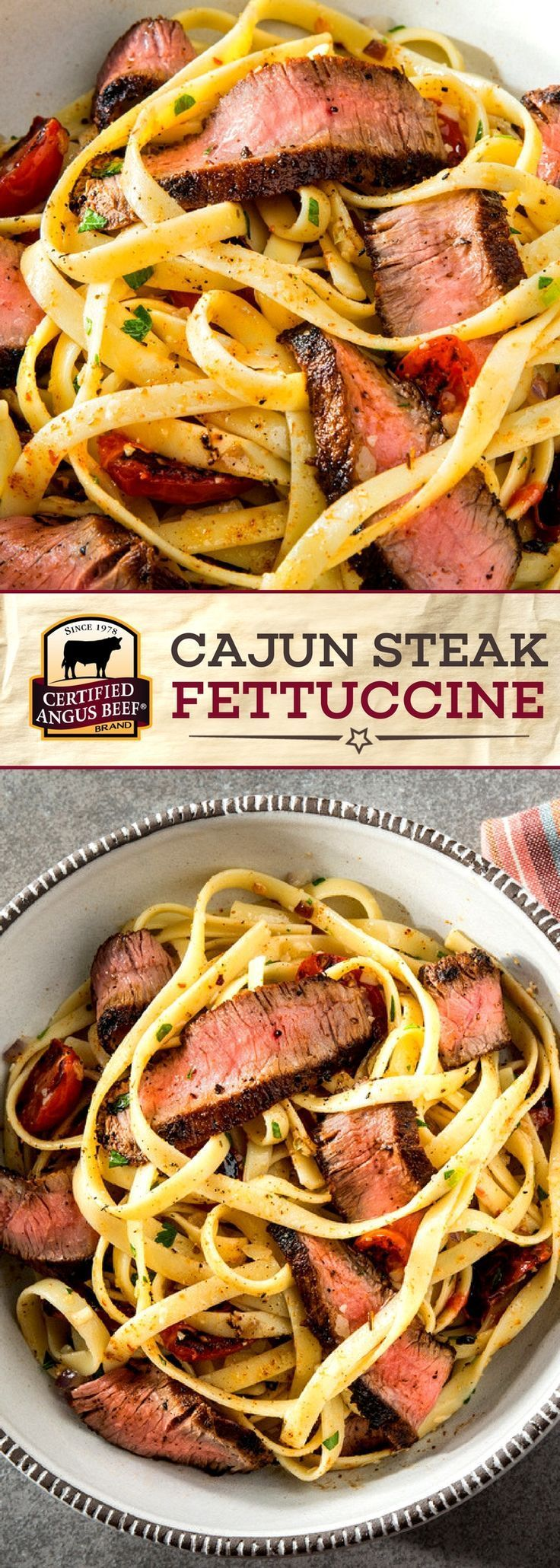 Certified Angus Beef®️️️️️️️️️ brand Cajun Steak Fettuccine is SIMPLE to make and so TASTY! The best ball tip steaks with the perfect spice rub, served over thick fettuccine with parmesan and parsley, make this a deliciously BOLD meal. #bestangusbeef #certifiedangusbeef #beefrecipe #easyrecipes #pastarecipes