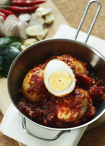 Indonesian Food. Telor Balado. Eggs in Hot Chili Sambal Sauce.